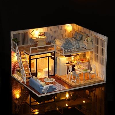 """3D Румбокс DIY House """"Голубые апартаменты"""" Doll House Кукольный Домик CuteBee"""