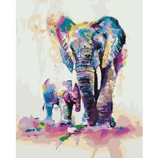 Картина раскраска Радужные слоны Идейка KH4010 40 х 50см