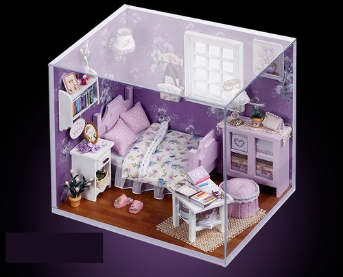 "3D Румбокс DIY House ""Комната сиреневая"" Doll House Кукольный Домик CuteBee"
