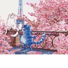 Рисование по цифрам Коты в Париже Идейка KH4047 40 х 50см