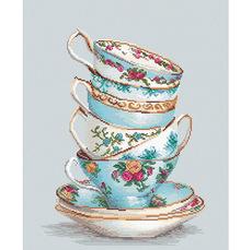 BA2325 Бирюзовые чайные чашки Набор для вышивания крестиком