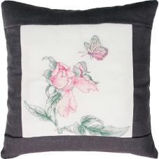 PB105 Бабочка и роза. Luca-S. Набор для вышивания нитками. Подушка