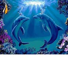 Картина раскраска Танец дельфинов Babylon VP1141 40 х 50см