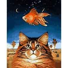 Картина раскраска Кот и рыбка Babylon VP1142 40 х 50см