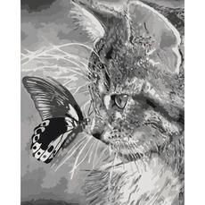 Картина по номерам Котенок и бабочка КНО2499