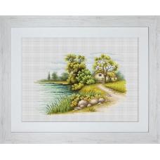 В2283 Пейзаж с озером. Luca-S. Набор для вышивания нитками