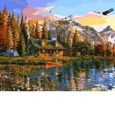 VP1160 Картина раскраска Закат над озером Babylon 40х50см