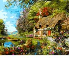 VP1161 Картина раскраска Домик на берегу озера Babylon 40х50см