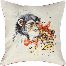 PB140 Шимпанзе и леопард. Luca-S. Набор для вышивания нитками. Подушка