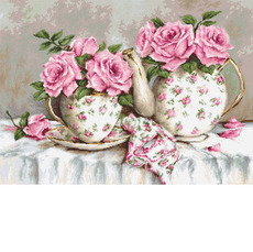 G568 Утренний чай и розы Набор для вышивания - Гобелен