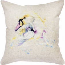PB137 Лебеди. Luca-S. Набор для вышивания нитками. Подушка