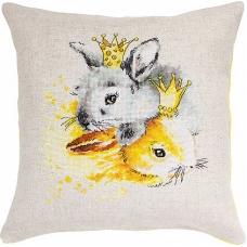 PB135 Кролики. Luca-S. Набор для вышивания нитками. Подушка