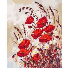 Картина раскраска Маки на поляне Идейка KH3042 40 х 50см