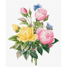 BU4003 Желтые розы и бенгальские розы