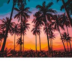 Картина раскраска Экзотический вечер Идейка KH2257 40 х 50см