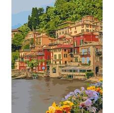 Картина раскраска Набережная Италии Идейка KH2259 40 х 50см