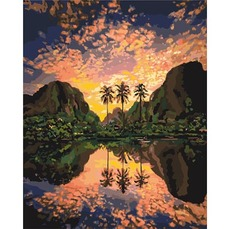 Картина раскраска Багряная лагуна Идейка KH2737 40 х 50см