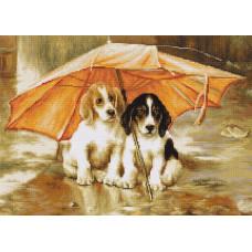 B550 Двое под зонтом. Luca-S. Набор для вышивания нитками