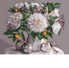 Картина раскраска Ароматные пионы Идейка KHО3054 40 х 50см