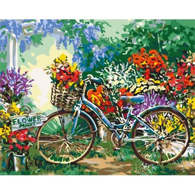 Картина по номерам Велосипед в цветах КНО5517 Идейка