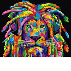 Радужный лев с дредами (горизонтальная) VP989H