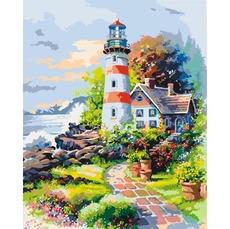 KH2719 Картина раскраска Маяк на рассвете Идейка 40х50см