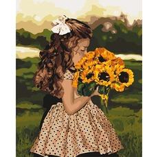 KH4662 Раскраска для взрослых Девочка с подсолнухами Идейка