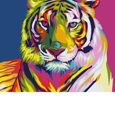 KH2436 Картина раскраска Тигр поп-арт Идейка 40х40см