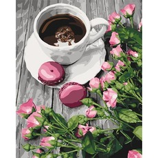 Картина раскраска Романтический кофе Идейка KHО5559 40х50см