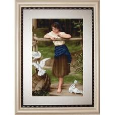 B516 Девушка с голубями. Luca-S. Набор для вышивания нитками