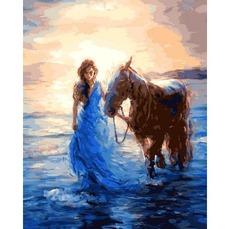 VP1207 Картина по номерам Прогулка с лошадью DIY Babylon