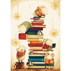KH4111 Картина раскраска Мышки в библиотеке Идейка 40х50см