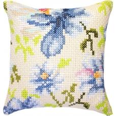 PB155 Голубые цветы. Luca-S. Набор для вышивания нитками. Подушка