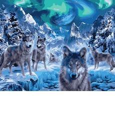Картина раскраска Babylon Волки и северное сияние VP1102 40 х 50 см