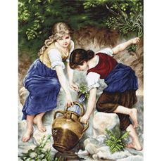 G564 У фонтана Набор для вышивания - Гобелен