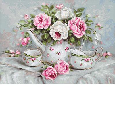 BA2317 Чайный сервиз и розы Набор для вышивания крестиком
