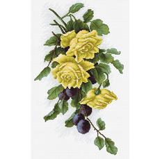B2230 Жёлтые розы с виноградом Набор для вышивки крестиком