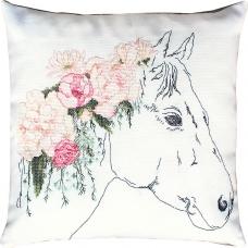PB109 Лошадь в цветах. Luca-S. Набор для вышивания нитками. Подушка
