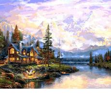 Картина раскраска Babylon Дом у горного озера VP1113 40 х 50 см