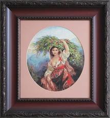 G466 Итальянка с цветами. Luca-S. Набор для вышивания нитками (гобелен)