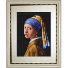 G467 Девушка с жемчужиной. Luca-S. Набор для вышивания нитками (гобелен)