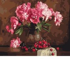 GX4645 Картина раскраска Розовые пионы и вишни