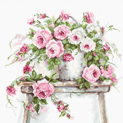 Набор для вышивания крестиком B2331 Розы на табурете Luca-s 27 х 27см