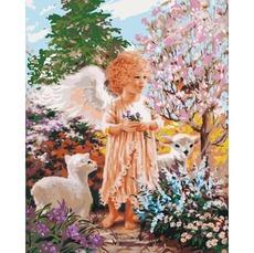 Картина по номерам Ангелок с овечками KHО2305