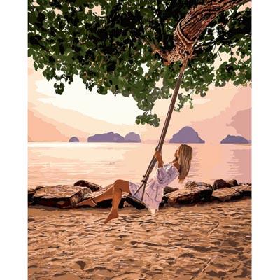KHO4716 Раскраска по номерам Качели на пляже Идейка