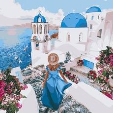 KHO4729 Картина по номерам Незабываемый Санторини Идейка
