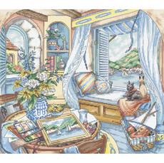 Место у окна LETISTITCH Набор для вышивания крестом L 8006