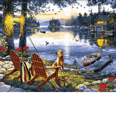 MR-Q2251 Картина по номерам Рыбалка с собакой Mariposa