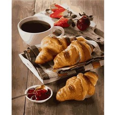 MR-Q2285 Раскраски по номерам Утро с кофе и круассанами Mariposa