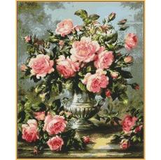 Розовые розы в серебряной вазе ST1117